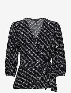 Anchor-Print Jersey Top - blouses à manches longues - lauren navy/pale
