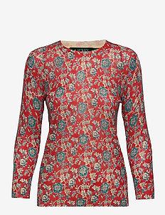 Floral Cotton-Linen Sweater - langærmede toppe - multi