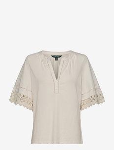 Lace-Trim Cotton Jersey Top - t-shirts - mascarpone cream