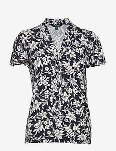 STR SLEEK JRSY-SSL-KNT - short-sleeved blouses - lauren navy/masca