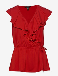 Ruffle-Trim Jersey Top - ermeløse bluser - orient red