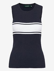 Striped Cotton-Blend Sweater - ermeløse topper - lauren navy/white