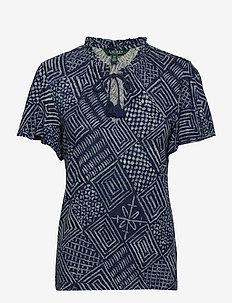 Print Linen-Blend Tie-Neck Top - blouses à manches courtes - dk blue multi