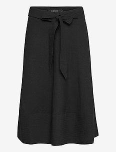 Linen A-Line Skirt - midi skjørt - polo black