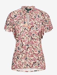 Floral Jersey Necktie Top - blouses à manches courtes - pink multi