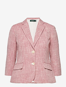 Textured Cotton-Blend Blazer - blazere - red/white