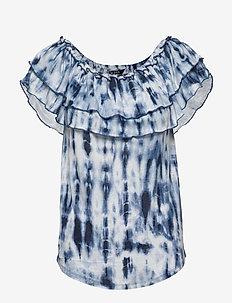 Tie-Dye Off-the-Shoulder Top - kortærmede bluser - blue multi