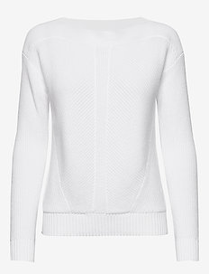 Cotton Boatneck Sweater - gensere - white