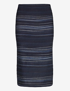 Striped Stretch Cotton Skirt - midi skjørt - blue multi
