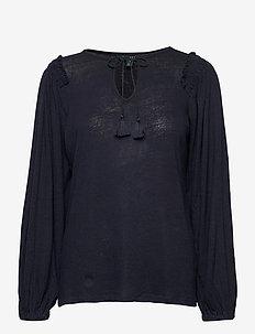 Linen-Blend Blouson Top - blouses à manches longues - lauren navy