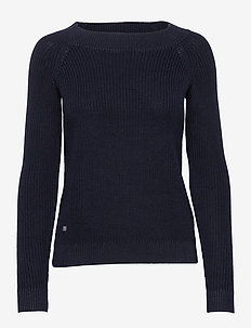Ribbed Cotton Sweater - gensere - lauren navy