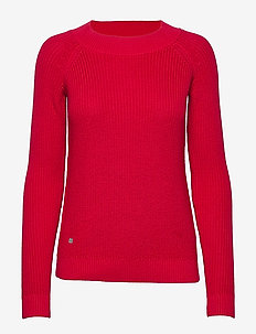 Ribbed Cotton Sweater - gensere - orient red