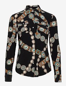 Belt-Print Stretch Jersey Shirt - polo black multi