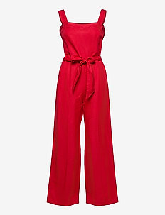 Linen Twill Wide-Leg Jumpsuit - jumpsuits - orient red