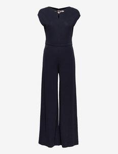 Buckle-Trim Jersey Jumpsuit - klær - lauren navy