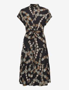 Belt-Print Crepe Shirtdress - hverdagskjoler - polo black multi