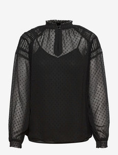 Swiss-Dot Balloon-Sleeve Top - langärmlige blusen - polo black