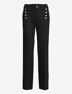 Button-Trim Ponte Pant - bukser med lige ben - polo black