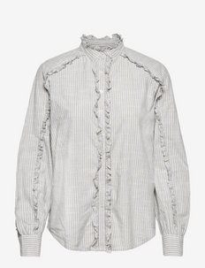 Ruffle-Trim Cotton Top - langärmlige blusen - blue/white
