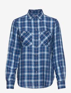 Plaid Cotton Twill Shirt - chemises à manches longues - blue white