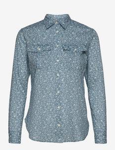 Floral Cotton Dobby Shirt - chemises à manches longues - provincial blue/m