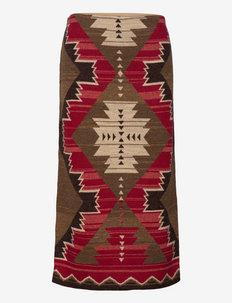 Southwestern-Print Cotton-Linen Skirt - midinederdele - multi