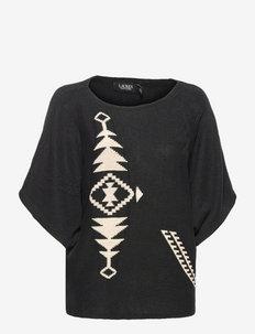 Print Dolman-Sleeve Sweater - neuletopit - polo black