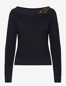 Cotton Ballet-Neck Sweater - neulepuserot - lauren navy