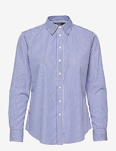 Striped Cotton Shirt - langermede skjorter - blue/white