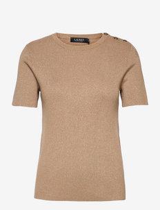 Button-Trim Metallic Sweater - getrickte tops - gold lurex