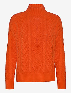 COTTON ACRYLIC-LS MOCK NECK - pulls - dusk orange