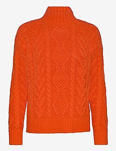 COTTON ACRYLIC-LS MOCK NECK - jumpers - dusk orange