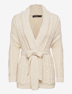 Cable-Knit Cotton-Blend Cardigan - cardigans - mascarpone cream