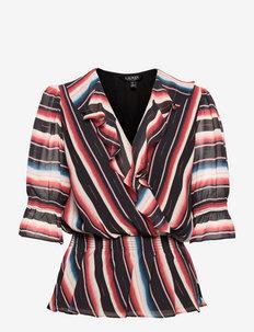 Blanket-Stripe Georgette Peplum Blouse - langärmlige blusen - polo black multi