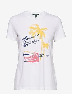 UPTOWN COTTON MODAL-SSL-KNT - t-shirts med tryk - white