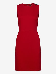 Button-Trim Ponte Dress - midiklänningar - orient red