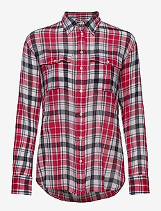 Plaid Crinkle Cotton Shirt - langermede skjorter - red multi