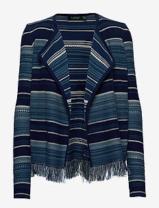 Striped Fringe-Trim Cardigan - cardigans - blue multi