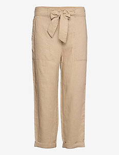 Belted Linen Pant - bukser med lige ben - birch tan