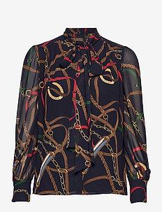 Print Georgette Tie-Neck Top - langermede bluser - lauren navy multi