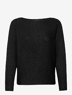 Dolman-Sleeve Boatneck Sweater - pulls - polo black lurex