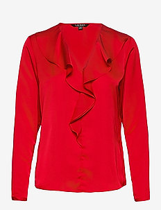 Ruffle-Trim Sateen Top - blouses à manches longues - lipstick red