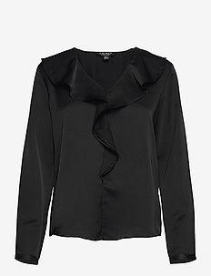 Ruffle-Trim Sateen Top - langærmede bluser - polo black