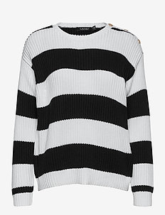 Striped Button-Trim Cotton Sweater - trøjer - white/polo black