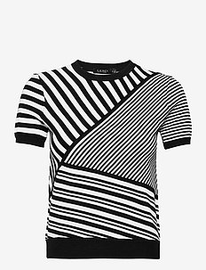 Striped Patchwork Short-Sleeve Sweater - hauts tricotés - polo black/white