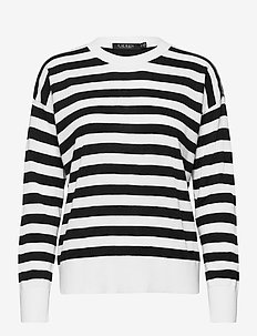 Striped Cotton-Modal Sweater - trøjer - white/polo black