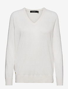 Modal-Silk V-Neck Sweater - trøjer - white