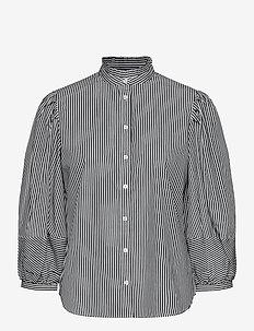 Striped Bishop-Sleeve Cotton Shirt - langærmede bluser - black/white