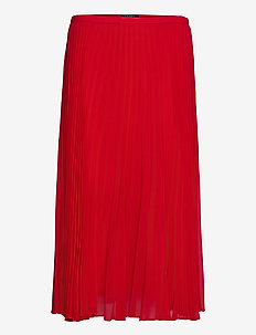 Pleated Chiffon Skirt - midinederdele - lipstick red