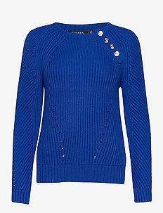 Button-Trim Cotton Sweater - trøjer - pacific royal